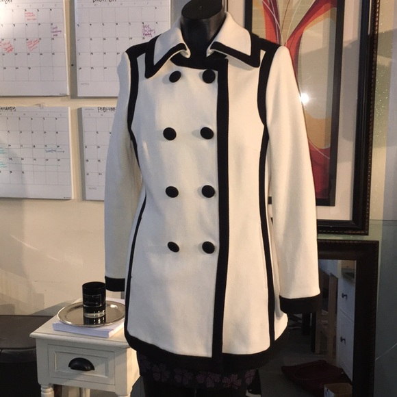 7cc2a0f6671 INC International Concepts Jackets   Blazers - INC winter white coat with  black trim